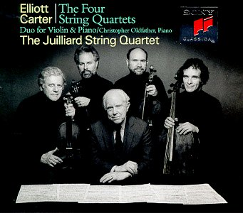 Image for Elliott Carter: The Four String Quartets / Duo for Violin & Piano - The Juilliard String Quartet / Christopher Oldfather
